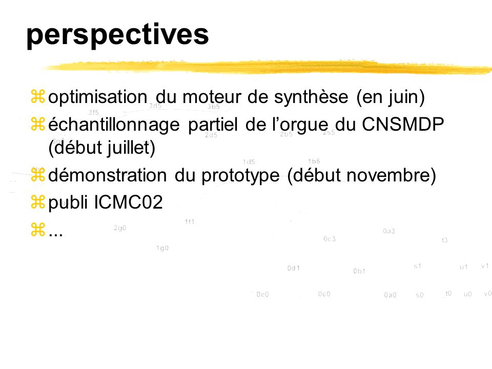 perspectives optimisation du moteur de synthèse (en juin)