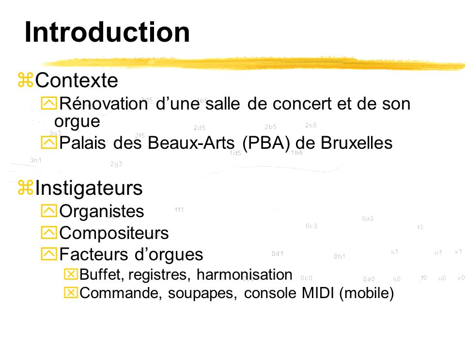 Introduction Contexte Instigateurs