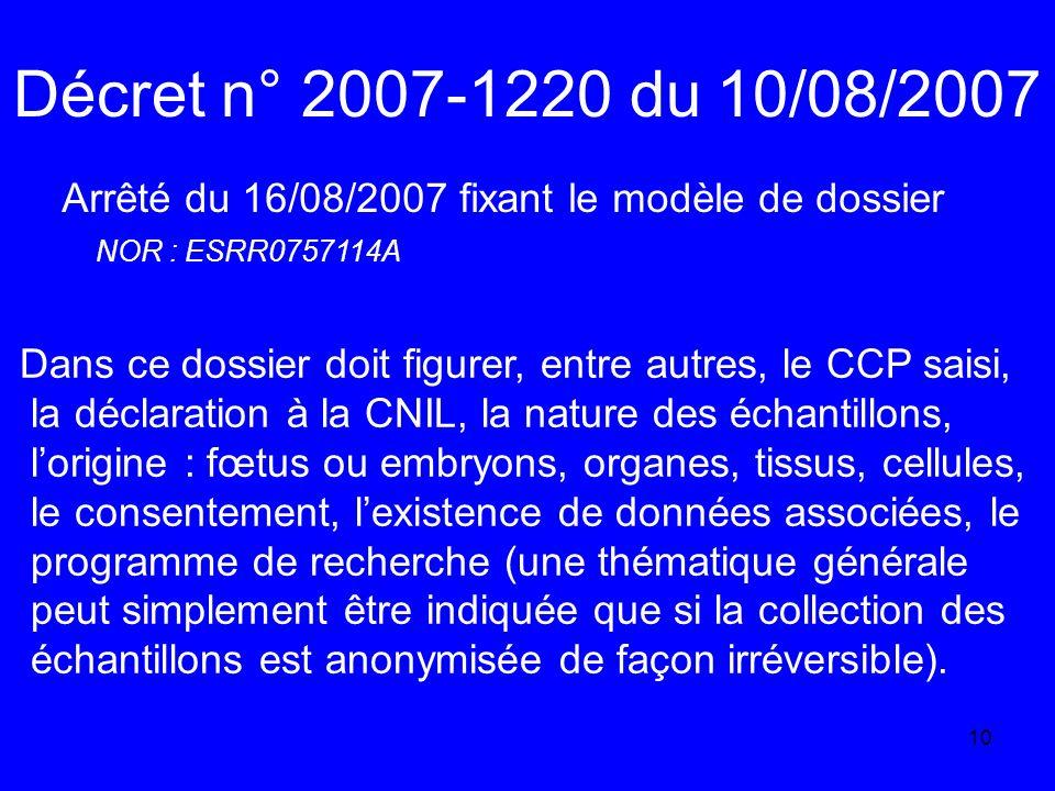 Décret n° 2007-1220 du 10/08/2007 Arrêté du 16/08/2007 fixant le modèle de dossier. NOR : ESRR0757114A.
