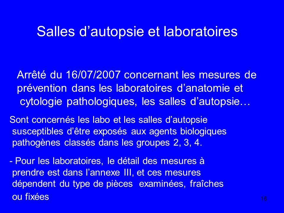 Salles d'autopsie et laboratoires