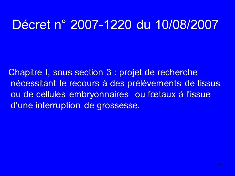 Décret n° 2007-1220 du 10/08/2007 Chapitre I, sous section 3 : projet de recherche. nécessitant le recours à des prélèvements de tissus.