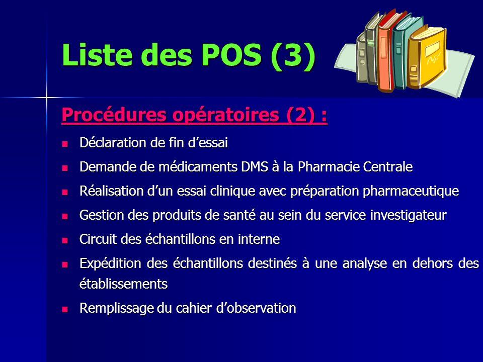 Liste des POS (3) Procédures opératoires (2) :