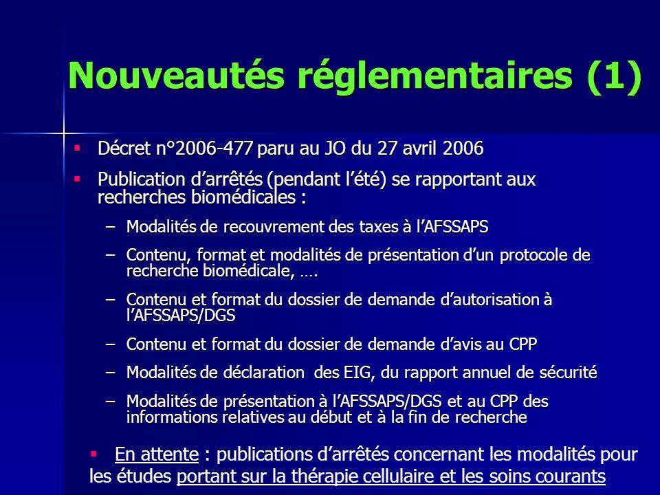 Nouveautés réglementaires (1)