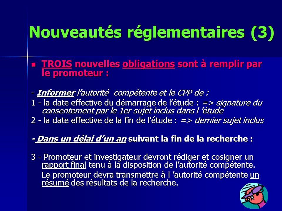 Nouveautés réglementaires (3)