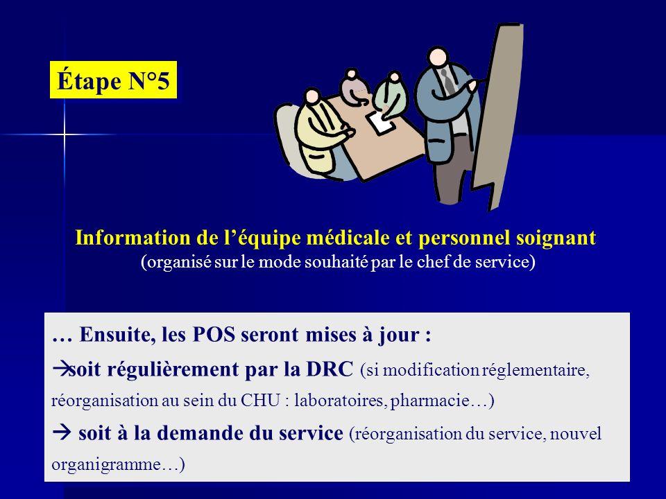 Information de l'équipe médicale et personnel soignant