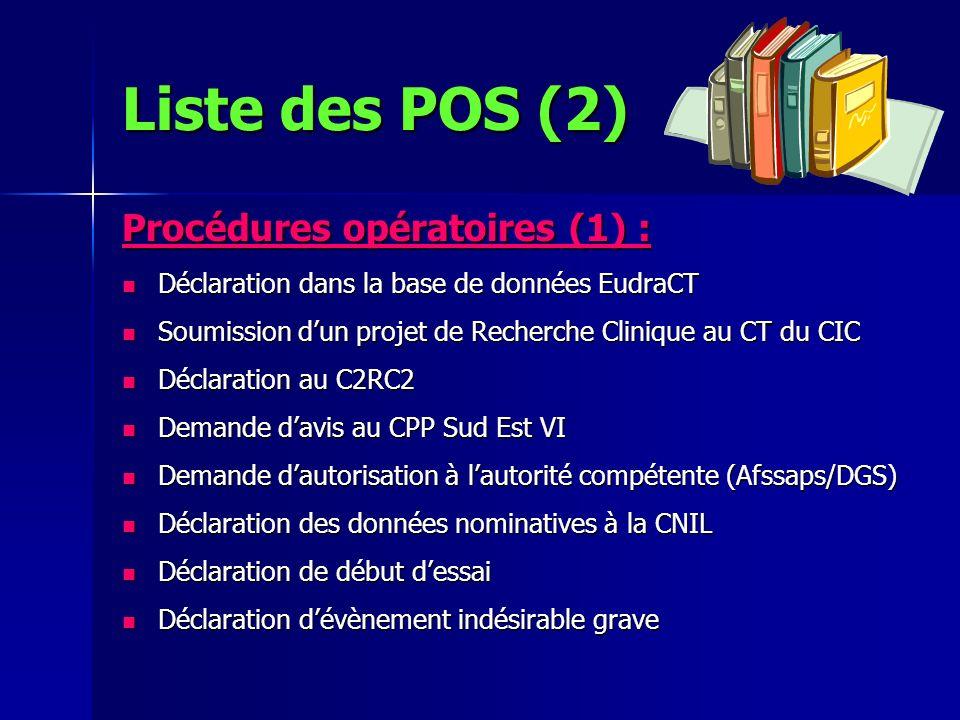 Liste des POS (2) Procédures opératoires (1) :