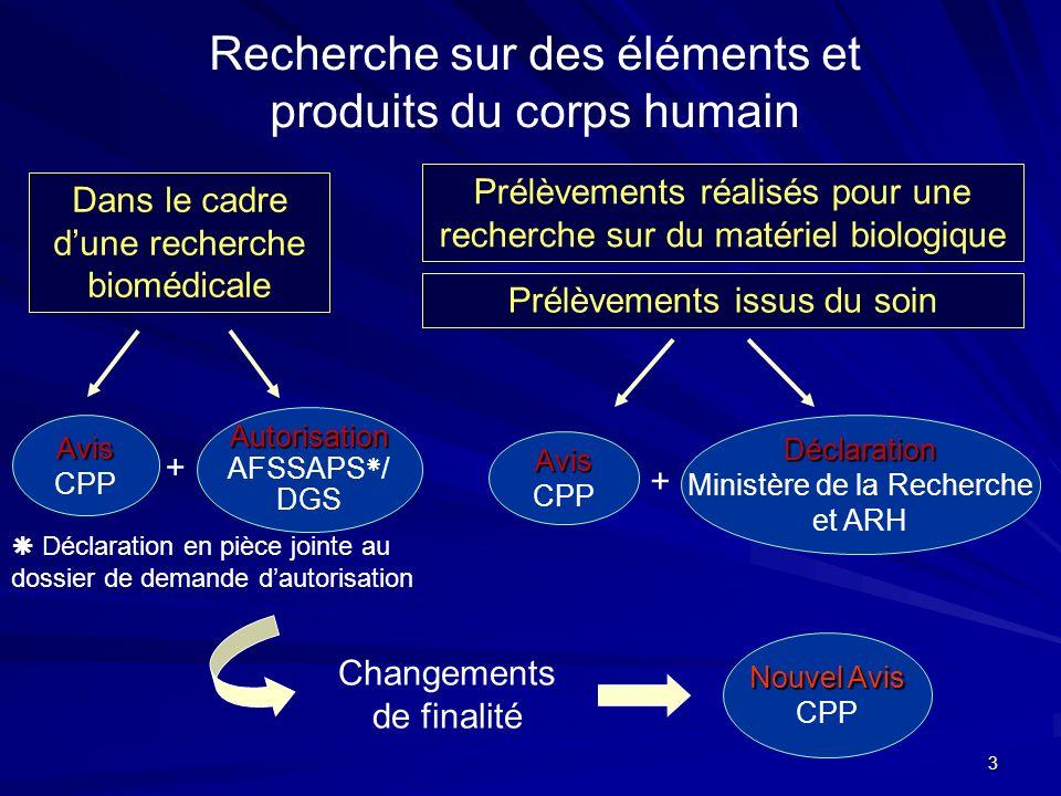 Recherche sur des éléments et produits du corps humain