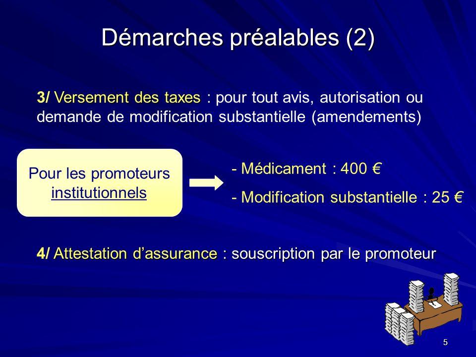 Démarches préalables (2)