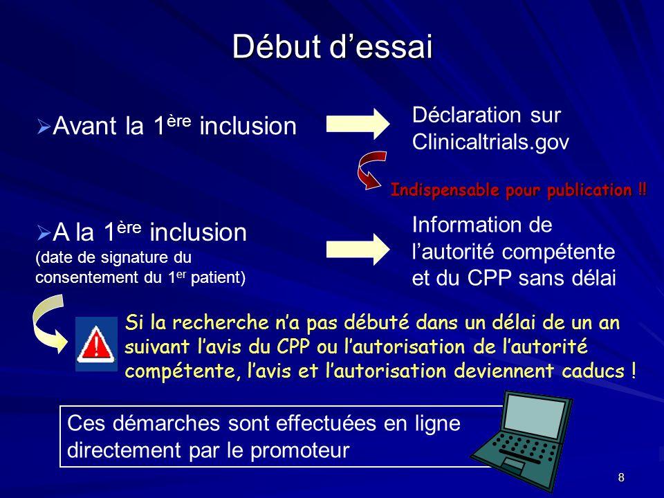 Début d'essai Déclaration sur Clinicaltrials.gov
