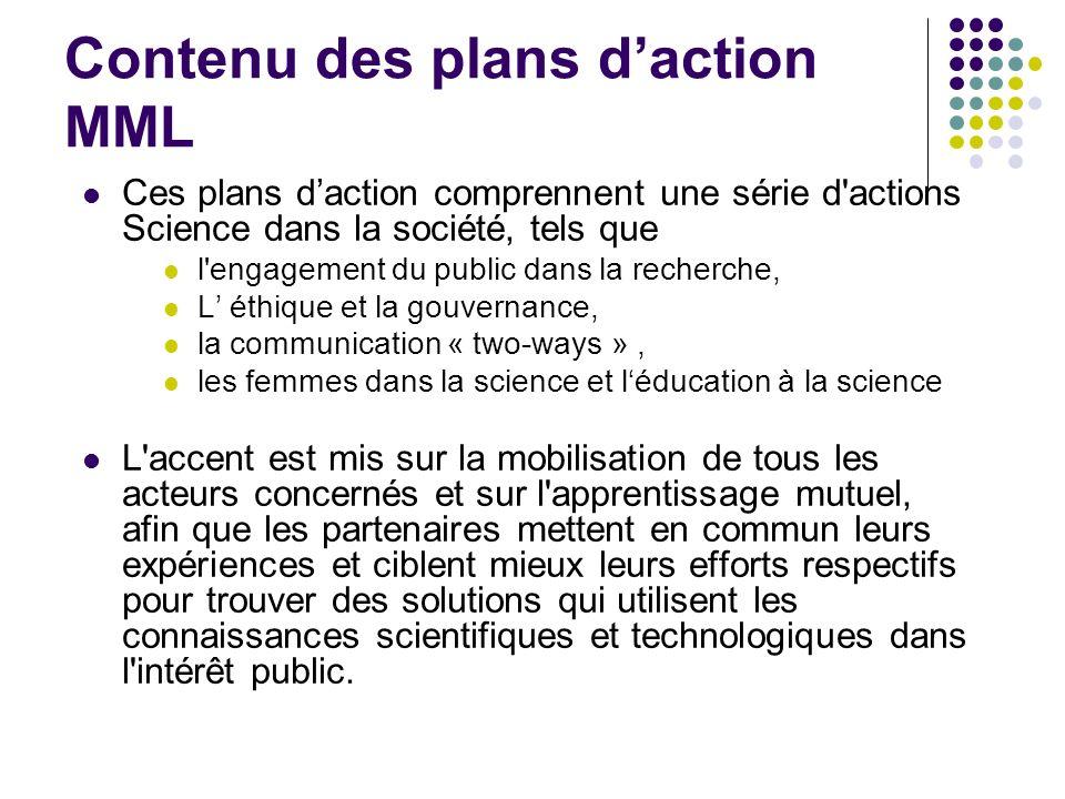 Contenu des plans d'action MML