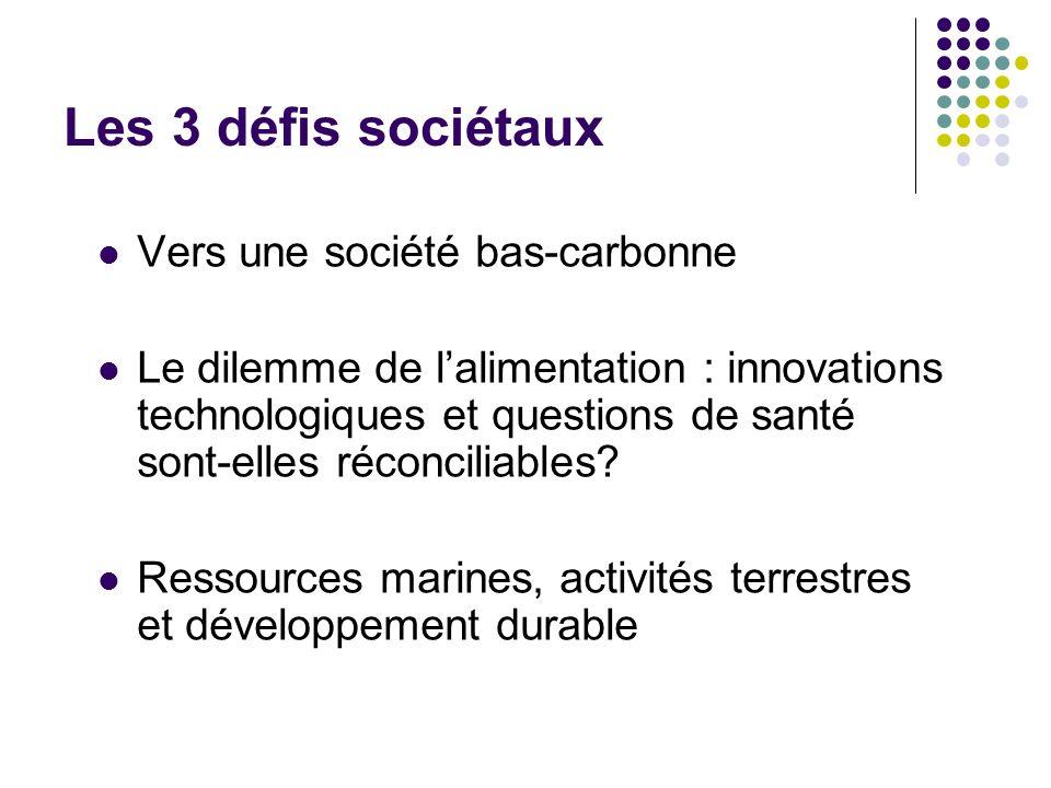 Les 3 défis sociétaux Vers une société bas-carbonne
