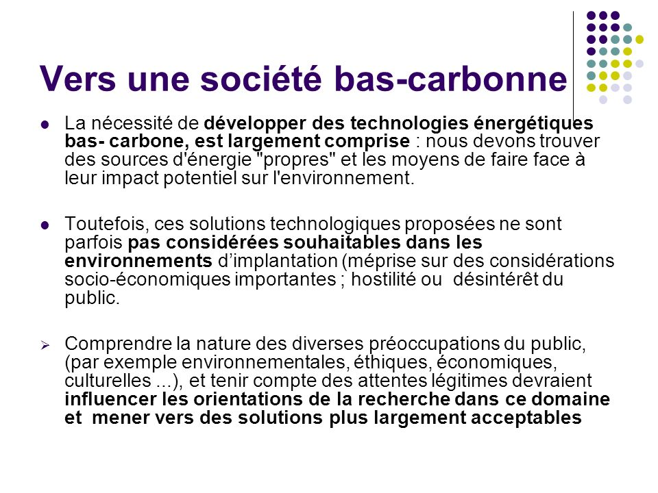 Vers une société bas-carbonne