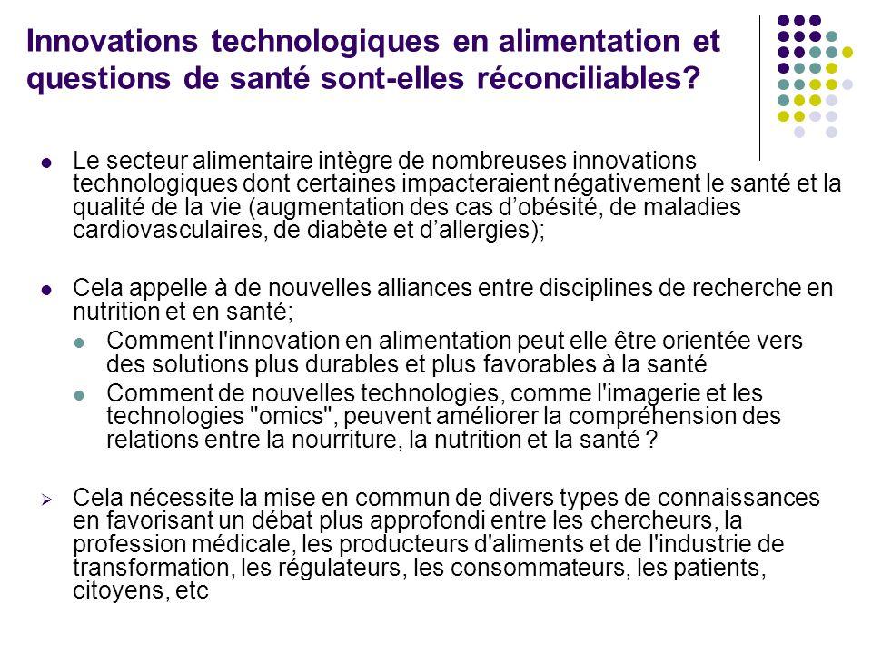 Innovations technologiques en alimentation et questions de santé sont-elles réconciliables