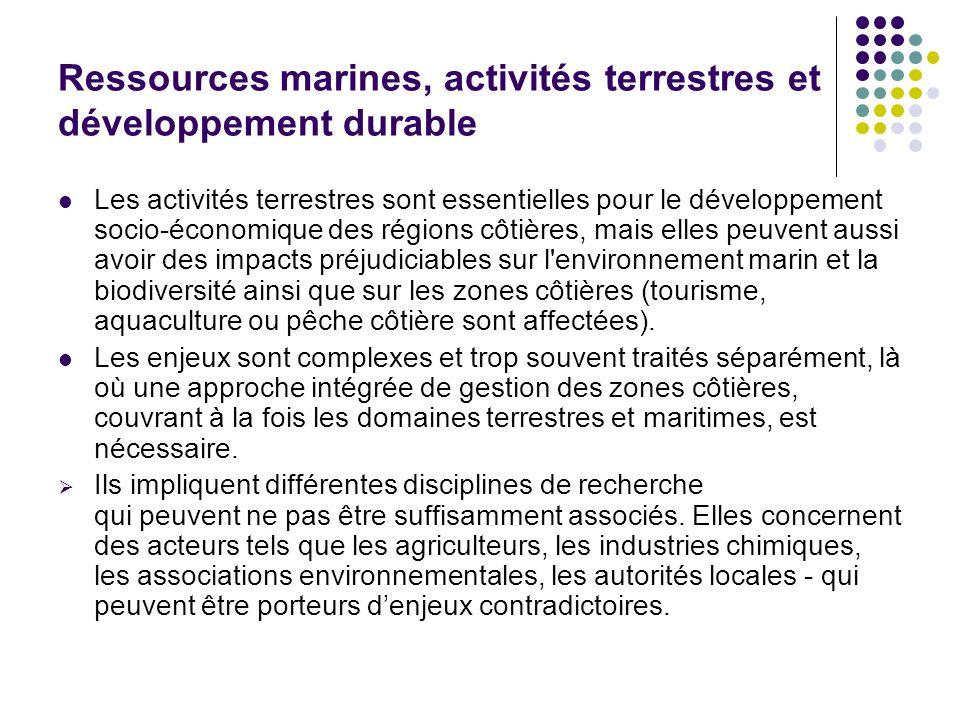 Ressources marines, activités terrestres et développement durable