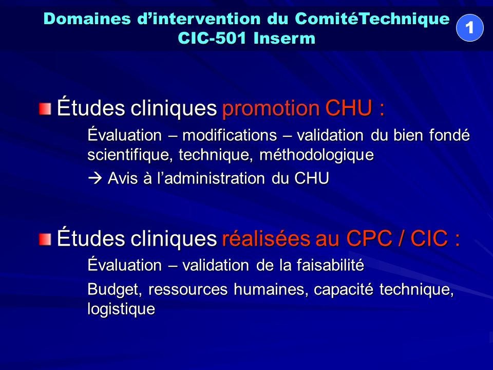 Domaines d'intervention du ComitéTechnique