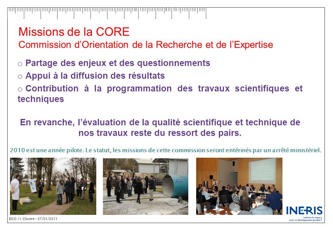 Missions de la CORE Commission d'Orientation de la Recherche et de l'Expertise