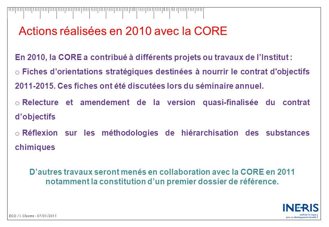 Actions réalisées en 2010 avec la CORE