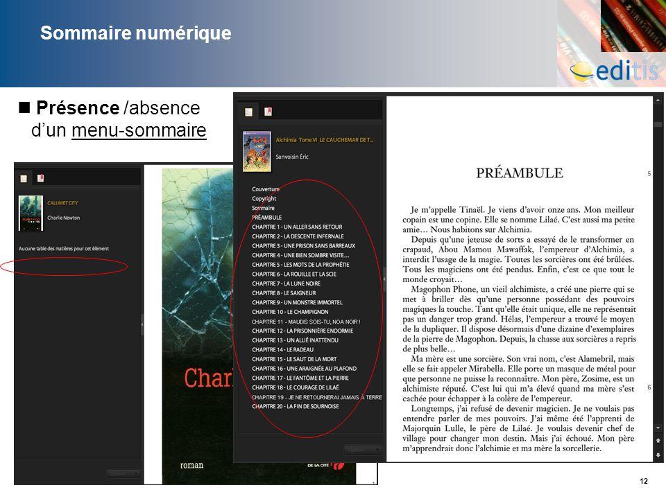 Sommaire numérique Présence /absence d'un menu-sommaire