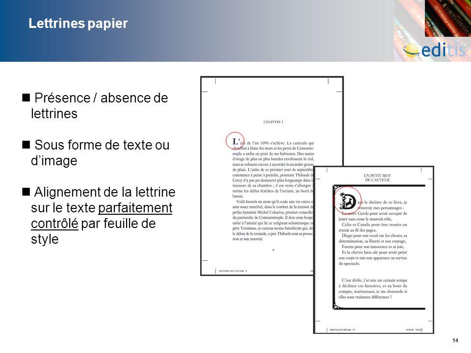 Lettrines papierPrésence / absence de lettrines. Sous forme de texte ou d'image.