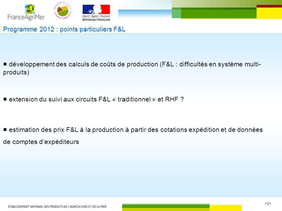 Programme 2012 : points particuliers F&L