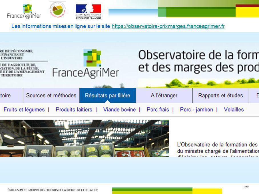 Les informations mises en ligne sur le site https://observatoire-prixmarges.franceagrimer.fr