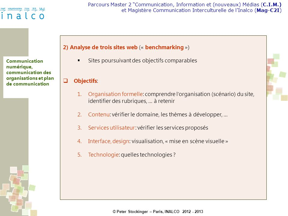 2) Analyse de trois sites web (« benchmarking »)