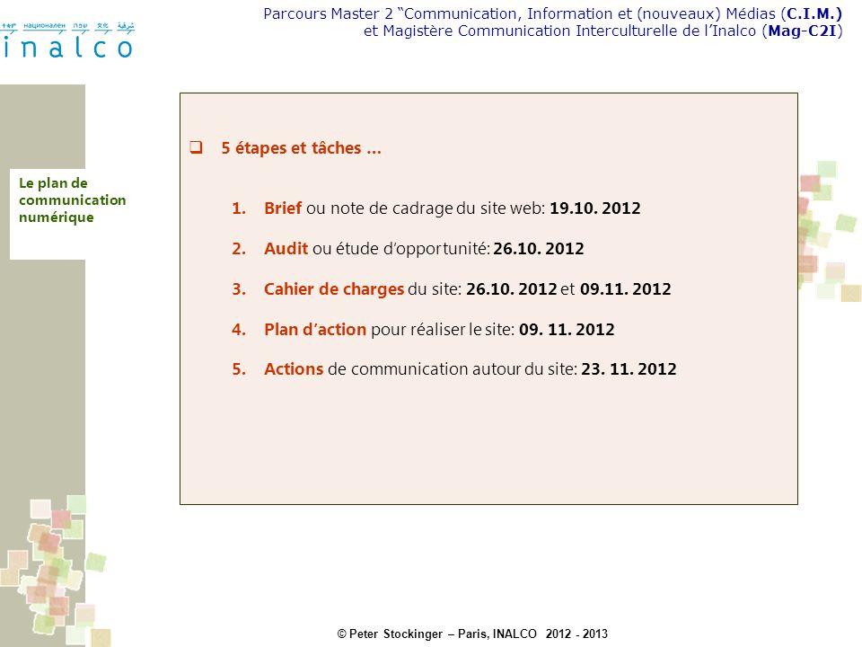 Brief ou note de cadrage du site web: 19.10. 2012