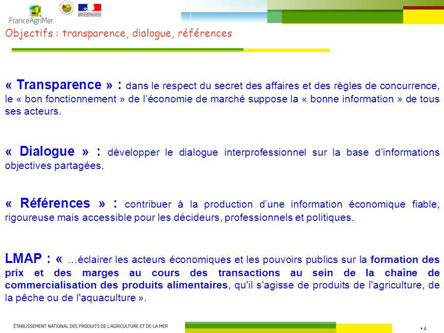 Objectifs : transparence, dialogue, références