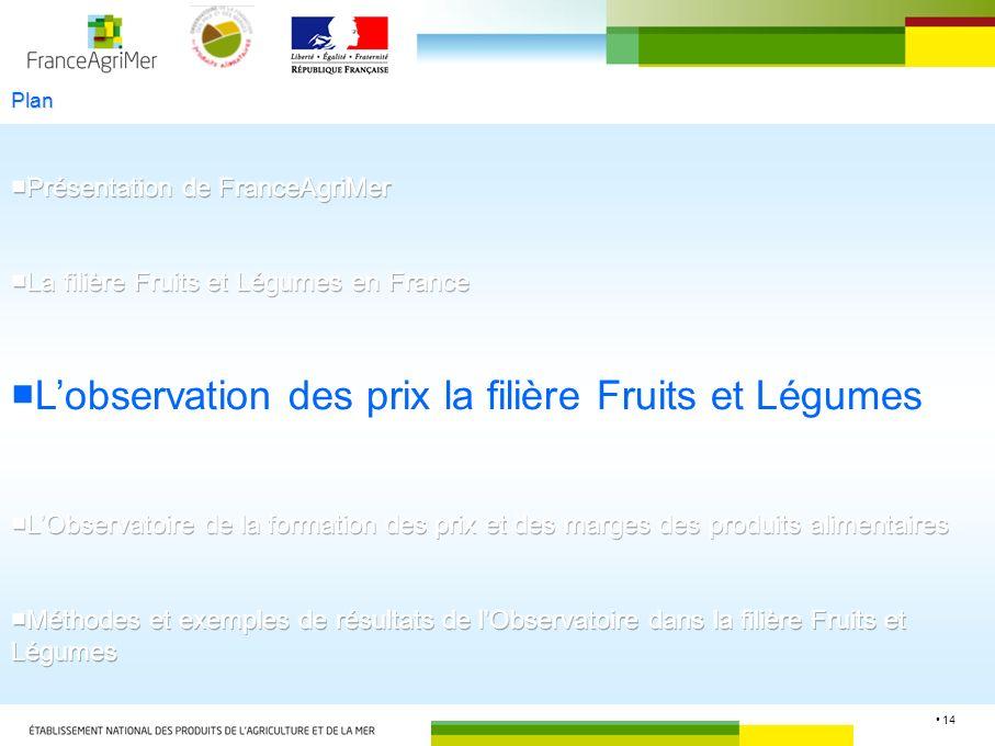 ■L'observation des prix la filière Fruits et Légumes