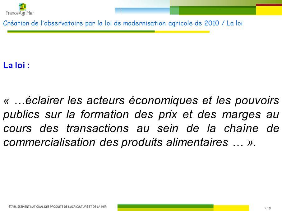 Création de l'observatoire par la loi de modernisation agricole de 2010 / La loi