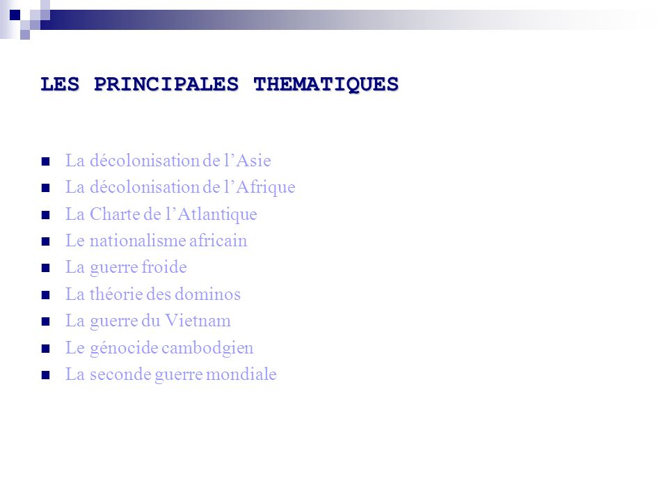 LES PRINCIPALES THEMATIQUES