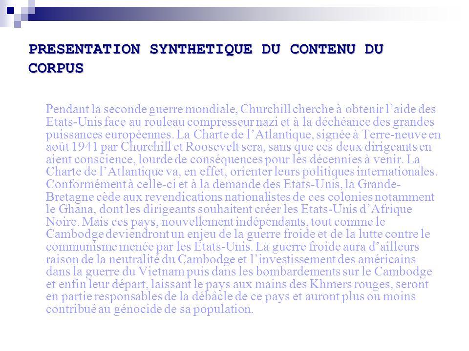 PRESENTATION SYNTHETIQUE DU CONTENU DU CORPUS