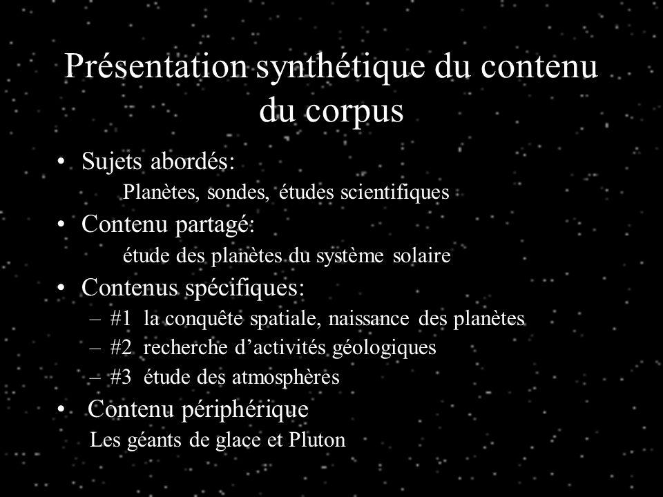Présentation synthétique du contenu du corpus
