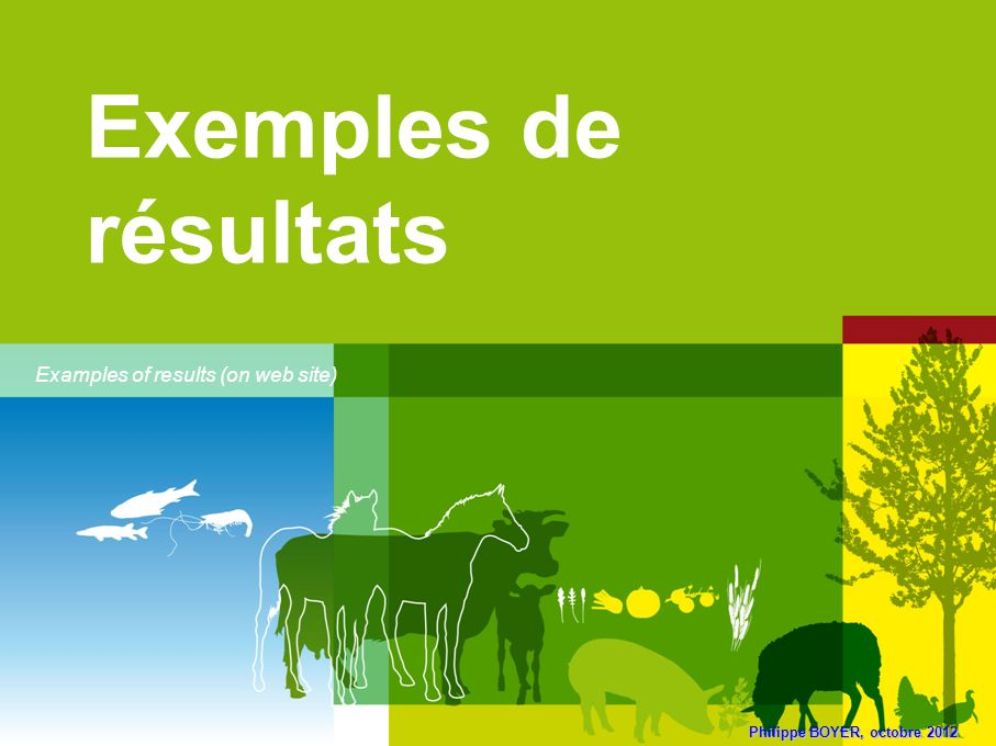 Exemples de résultats Examples of results (on web site)