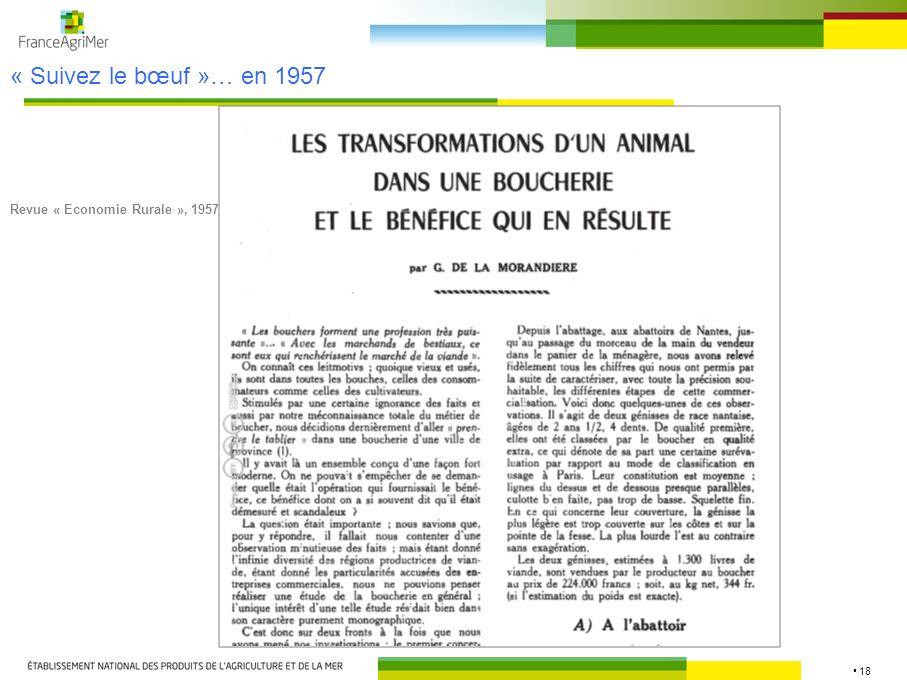 « Suivez le bœuf »… en 1957 Revue « Economie Rurale », 1957