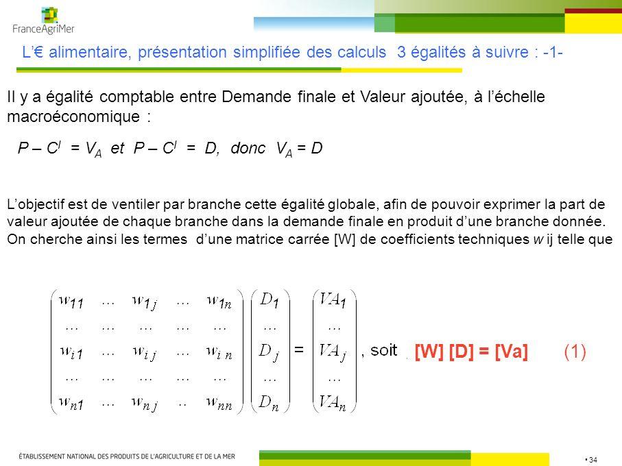 L'€ alimentaire, présentation simplifiée des calculs 3 égalités à suivre : -1-