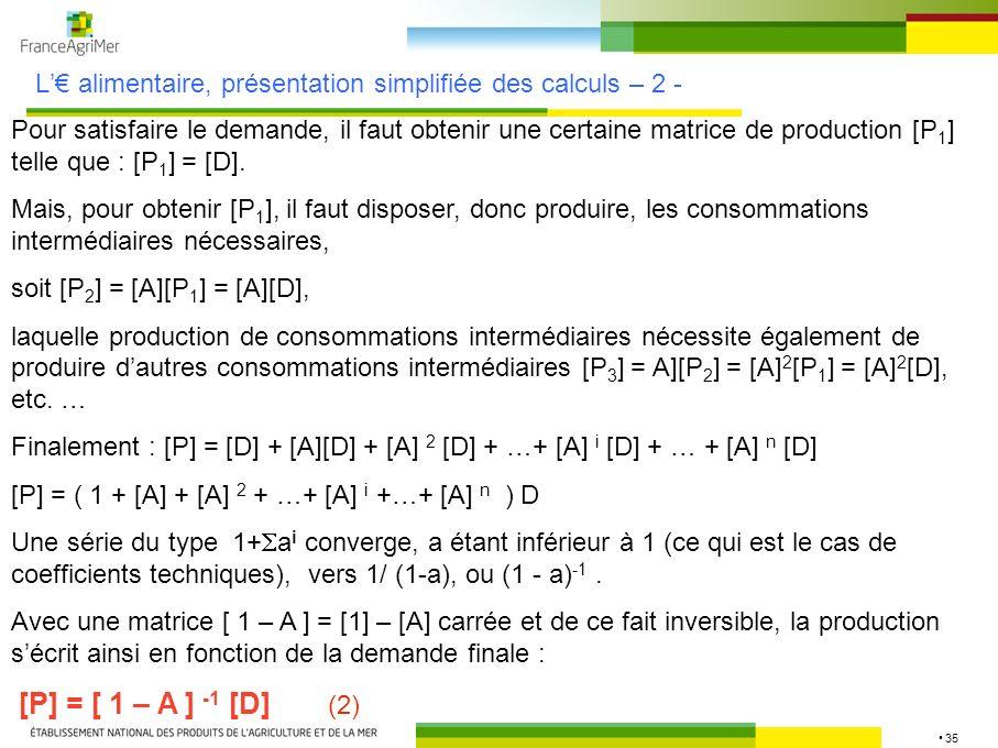 L'€ alimentaire, présentation simplifiée des calculs – 2 -