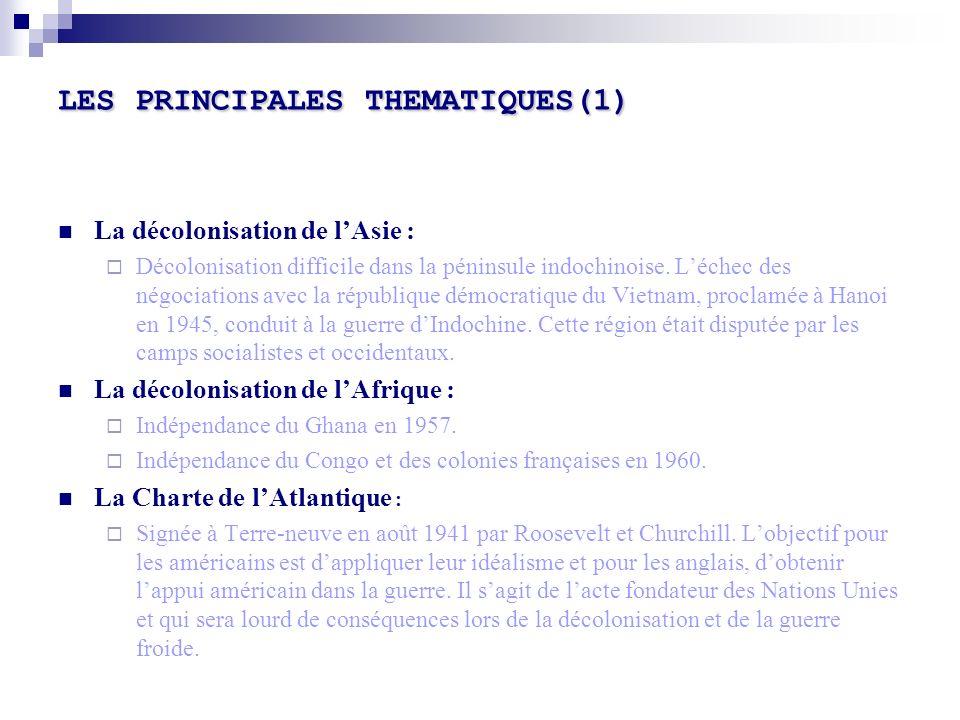 LES PRINCIPALES THEMATIQUES(1)