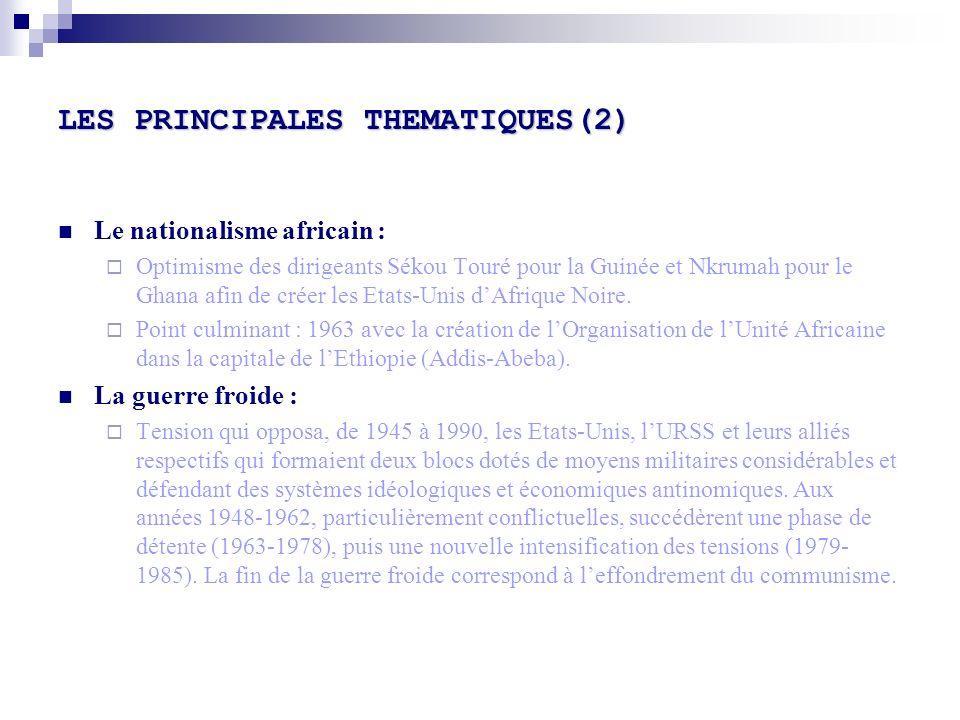 LES PRINCIPALES THEMATIQUES(2)