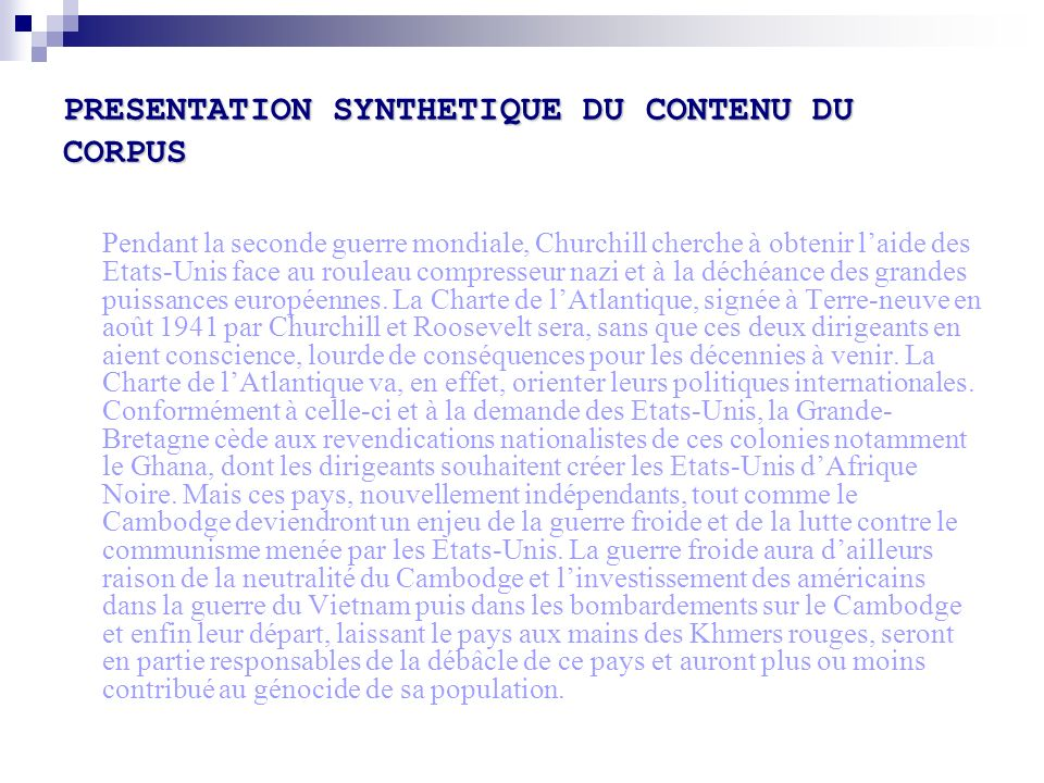 PRESENTATION SYNTHETIQUE DU CONTENU DU CORPUS