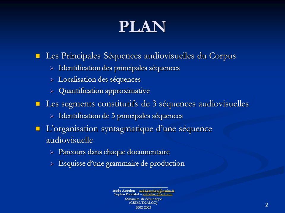 PLAN Les Principales Séquences audiovisuelles du Corpus