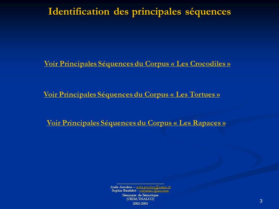 Identification des principales séquences