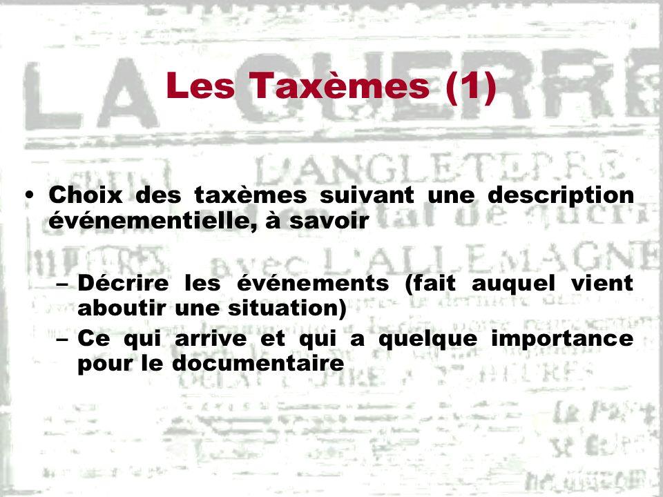 Les Taxèmes (1) Choix des taxèmes suivant une description événementielle, à savoir. Décrire les événements (fait auquel vient aboutir une situation)