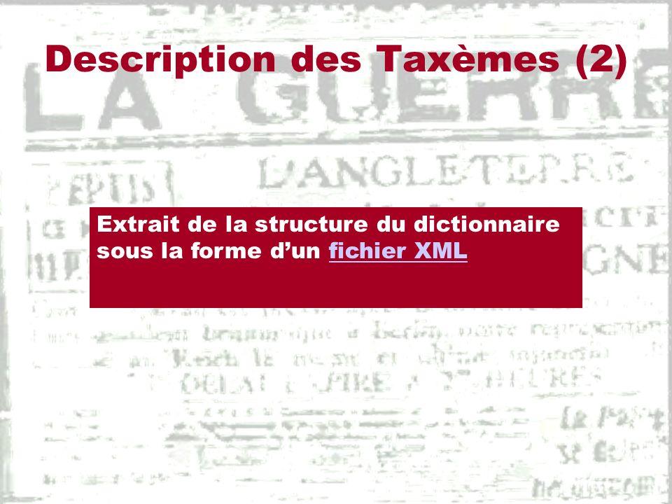 Description des Taxèmes (2)