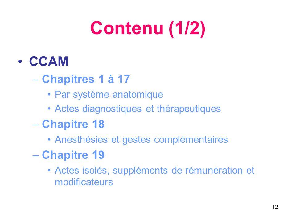 Contenu (1/2) CCAM Chapitres 1 à 17 Chapitre 18 Chapitre 19