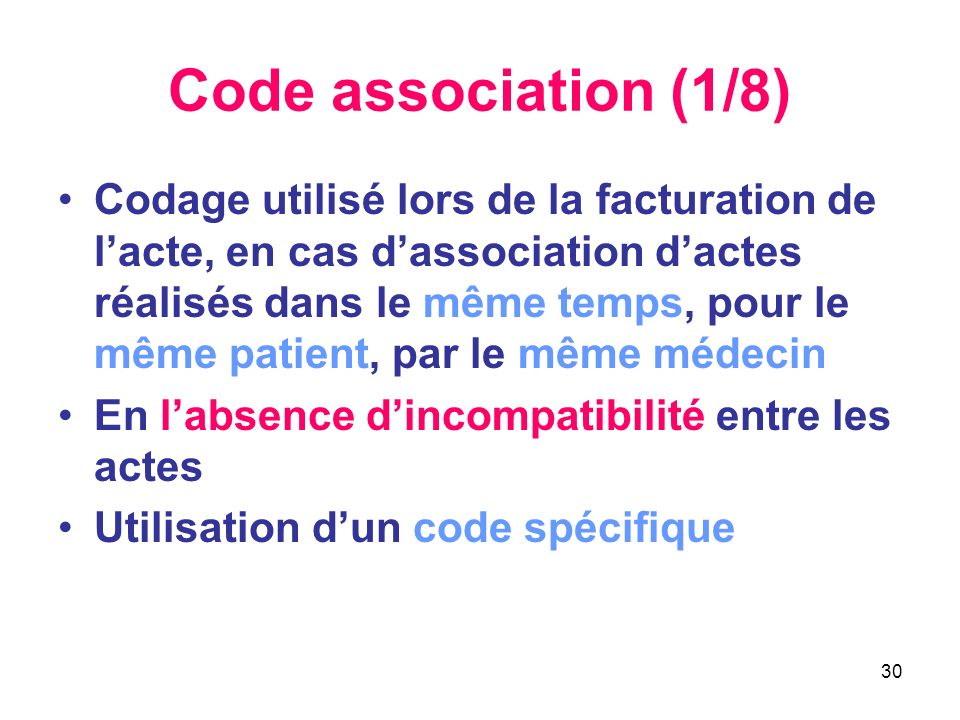 Code association (1/8)