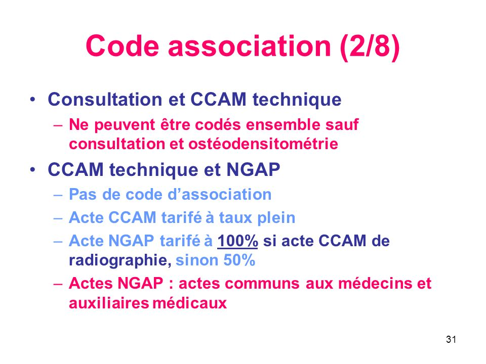 Code association (2/8) Consultation et CCAM technique