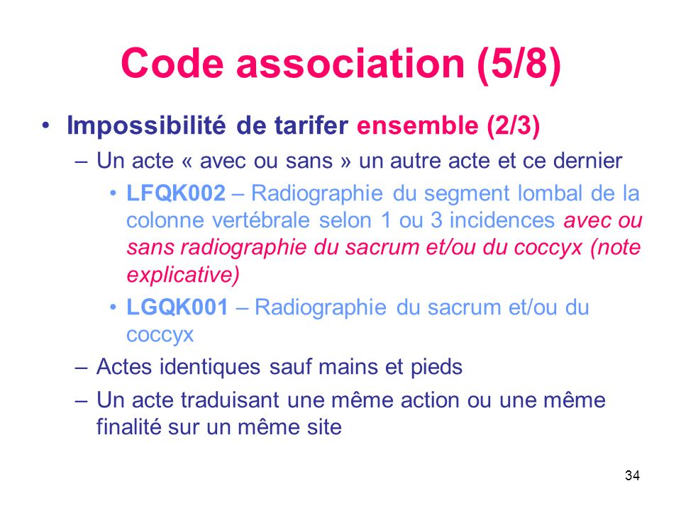 Code association (5/8) Impossibilité de tarifer ensemble (2/3)