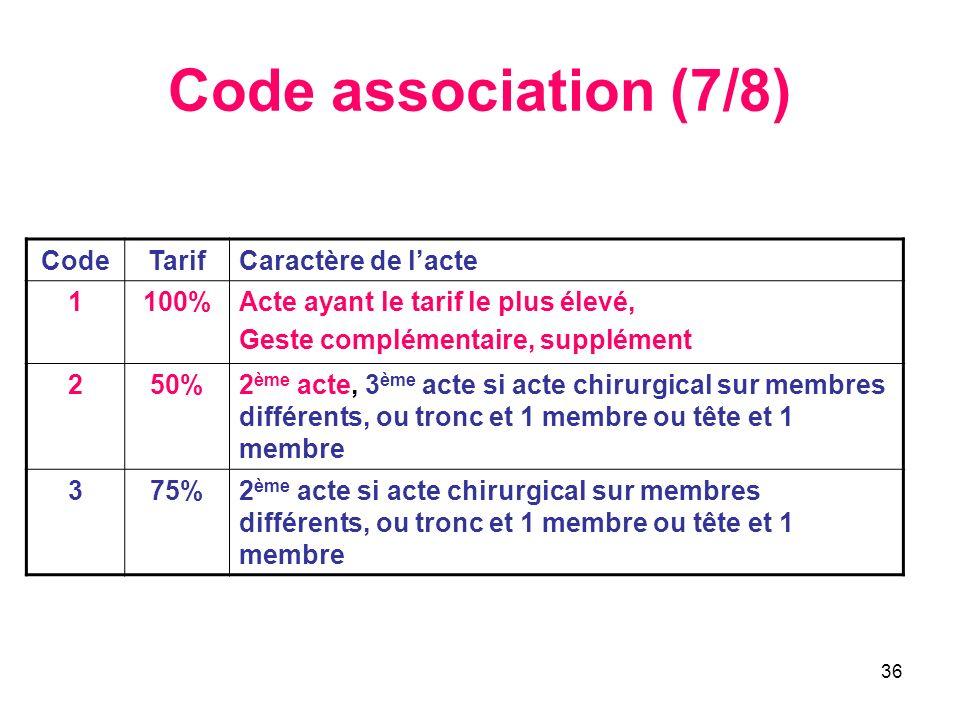 Code association (7/8) Code Tarif Caractère de l'acte 1 100%