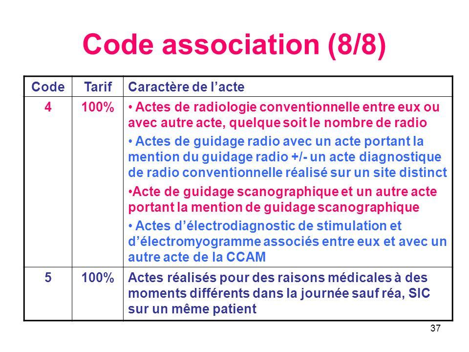 Code association (8/8) Code Tarif Caractère de l'acte 4 100%